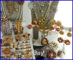 108 Huge Vintage Costume Jewelry Lot Brooch Rhinestone Estate Signed High LBS