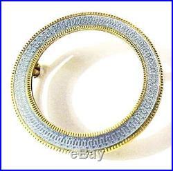 14K Gold Enamel CIRCLE Pin Pendant EUC Signed 3.8 Grm Vtg Guilloche Scarf Brooch