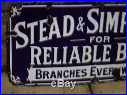 1920s Original Vintage ENAMEL STEAD & SIMPSON SIGN Reliable Boots