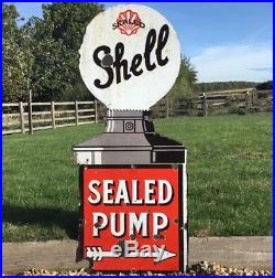 1920s SHELL ENAMEL SIGN sealed petrol pump advertising Automobilia oil Vintage