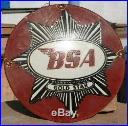 1930's Old Vintage Rare BSA Gold Star Porcelain Enamel Sign Board Collectible
