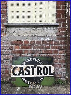 1930s Vintage Castrol Oil Enamel Advertising Garage Sign Automobilia 76cmx51cm