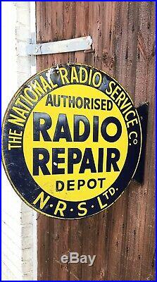 1940s Vintage National Radio Service Porcelain Enamel Sign