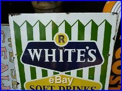 1950s R WHITES ENAMEL SIGN VINTAGE SOFT DRINKS SHOP FRONT ADVERTISING