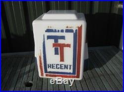34592 Old Vintage Garage Glass Enamel Sign Oil Petrol Gas Pump Globe Regent TT