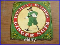 38273 Old Antique Vintage Enamel Sign Shop Advert Huntley Palmer's Biscuit Tin