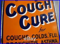 38285 Old Antique Vintage Enamel Sign Shop Advert Veno's Cough Cure Railway