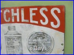 39749 Old Antique Vintage Enamel Sign Shop Advert Matchless Metal Polish Tin Can