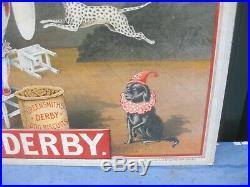 41343 Old Vintage Antique Card Sign Shop Advert Enamel Derby Dog Biscuits Tin