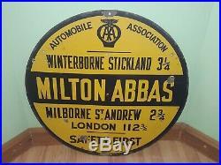 AA VINTAGE ENAMEL SIGN 1930's MILTON ABBAS DORSET WINTERBORNE STICKLAND