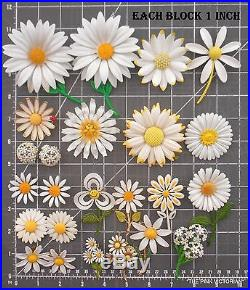 ALL DAISIES 20pc vintage FLOWER PIN & EARRING lot signed WEISS size VARIETY E4