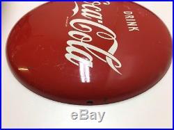 AUTHENTIC 12 inch Button Drink Coca Cola antique porcelain enamel sign vintage
