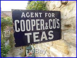 Agent for Cooper & Co Teas Double Sided Vintage Original, Enamel Sign