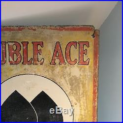 An Original Vintage Enamel Sign Advertising Double Ace Cigarettes- Great Patina