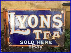 An Original Vintage Lyons Tea Double Sided Enamel Advertising Sign