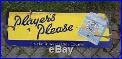 Antique Enamel Advertising Sign Players Please Cigarettes Vintage Tobacco