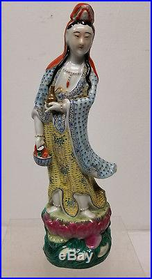 Antique Vintage Chinese Enameled Guanyin Kwan Yin Figure Republic Signed