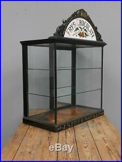 Antique Vintage Ebonised Fry's Chocolate Shop Display Cabinet Sign Not Enamel