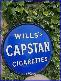 Antique Vintage Enamel Metal Sign Wills Capstan cigarettes tobacco blue circular