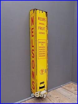 Antique Vintage Nelsons Fruit Pastilles 1d Enamel Sign Vending Machine Railway