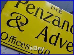 Antique Vintage Penzance Billposting Co Enamel Advertising Sign