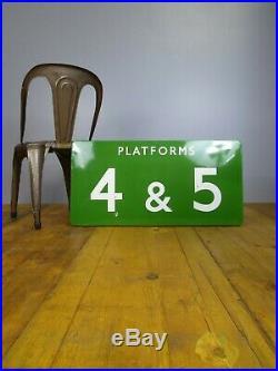 Antique Vintage Railway BR British Railways Enamel Platform Sign Advertising