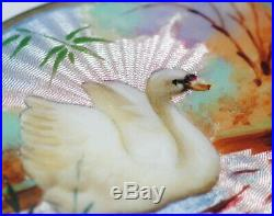 Antique/Vtg Signed Norwegian Sterling Silver Guilloche Enamel Autumn Swan Brooch