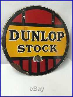 Automobilia Dunlop Stock Double Sided Enamel Sign Vintage Automobilia