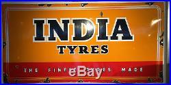 Automobilia Vintage India Tyres Enamel Sign 183 CM X 91 CM