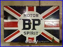 BP MOTOR SPIRIT Flag Double Sided Enamel Sign Vintage Automobilia Garage Oil