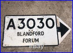 Blandford Vintage Old Road Sign Not Enamel