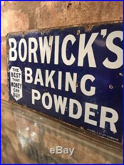 Borwicks Enamel Sign Original Old Rare Advertising Antique Collectable Vintage