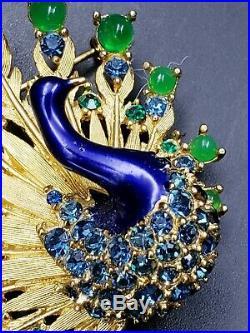 Boucher Vintage Signed Set Blue Green Enamel Peacock Brooch Pin & Earrings