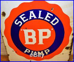 Bp Pump enamel sign early advertising decor mancave garage metal vintage antique