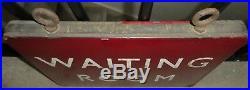 British Rail Railway Maroon Double Sided WAITING ROOM vintage sign enamel 1940