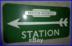 British Rail Railways Green STATION vintage sign enamel 1950 train Arrow