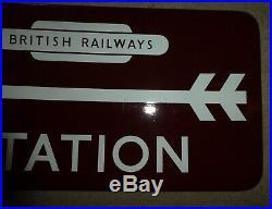 British Rail Railways Maroon Station vintage sign enamel 1940 train Arrow totem