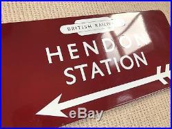 British Railways Enamel Direction Sign Hendon Station BR Midland Vintage