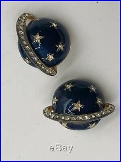Butler & Wilson Signed VTG Earrings Brooch Set CELESTIAL Saturn Planet Satellite