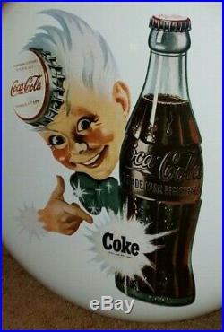 COKE-TACULAR Vintage Coca-Cola Porcelain Enamel 16 Sprite Boy Button Sign MINT