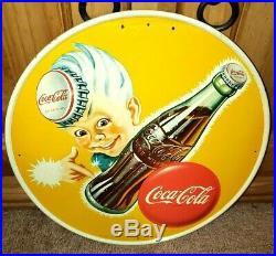 COKE-TASTIC Vintage Coca-Cola Metal Enamel 13 Sprite Boy Button Disc Sign NM