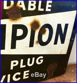 Champion Spark Plug enamel sign decor advertising mancave garage metal vintage r