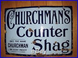 Churchmans Counter Shag Tobacco Enamel Sign Vintage