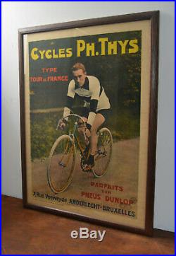 Dunlop Tour France cycle advertising poster bicycle picture sign vintage enamel