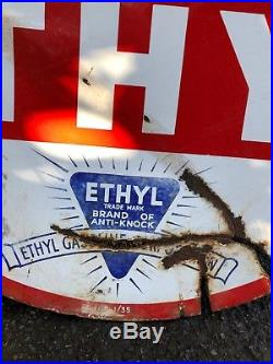 ESSO ETHYL Enamel Sign Large Vintage Reto