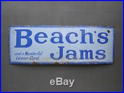 Early Antique Vintage Beaches Jams & Lemon Curd Enamel Advertising Sign