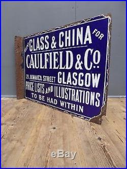 Early Antique Vintage Blue & White China Shop Enamel Sign Advertising