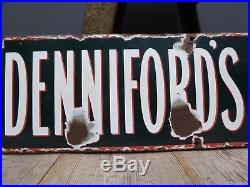 Early Antique Vintage Dennifords Soda Water Enamel Advertising Sign