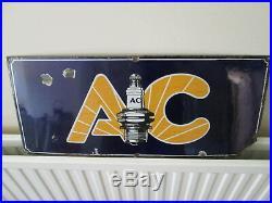Enamel AC Spark plug sign. Vintage sign. Champion spark plugs. AC plugs