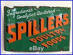 Enamel SPILLERS antique/vintage poultry food sign